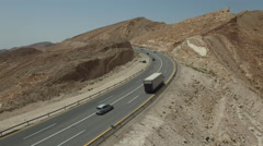 Truck crosses the desert. The roads in remote places Stock Footage