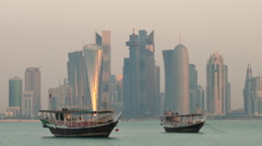 Early morning view across the water to central business district, Doha - stock footage