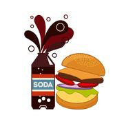 fast food and soda design - stock illustration
