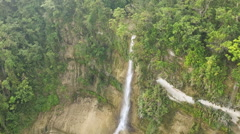 Waterfall from ravine. Philippines Aerial view - stock footage