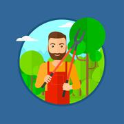 Farmer with pruner in garden Stock Illustration