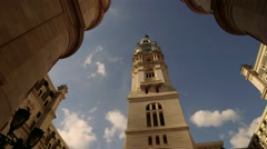 Philadelphia City Hall Tower Dramatic Natural Light Reveal Stock Footage