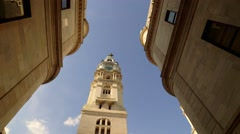 Philadelphia City Hall Tower from Interior Courtyard Stock Footage