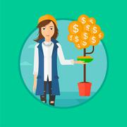 Woman catching dollar coins - stock illustration