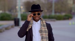 Portrait of black man wearing cool stylish old school clothing - stock footage