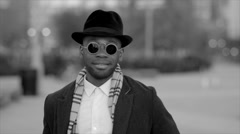 African american man with hat and sun glasses Stock Footage