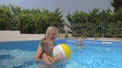 United Family Playing Ball in the Pool - stock footage