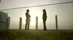 Sunset shadow view of two people standing talking together Stock Footage