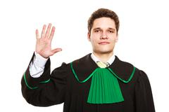 Male lawyer show sign with hand. Stock Photos