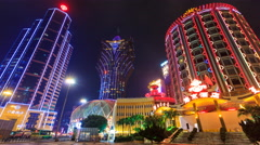 Macau China : Time Lapse Landmark Night Cityscape Casino And Hotels Stock Footage