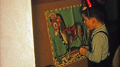 1964: Pin the tail on the donkey kids birthday party game. Stock Footage
