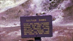 1964: Ha'a Kulamanu Sulphur Banks volcanic steam vents smells rotten eggs. Stock Footage