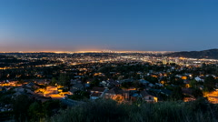 Glendale dawn sunrise time lapse view with zoom in near downtown Los Angeles, Stock Footage