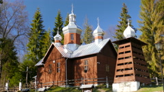 Old wooden church in Kamianna, Poland Stock Footage