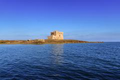 Summer seascape: a nature reserve of Torre Guaceto.BRINDISI (Apulia)-ITALY- - stock photo