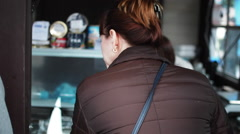 a Woman in a Store Buy Food - stock footage