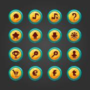 Set of vector button for game design - stock illustration