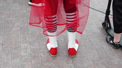 Clown Walking in Red Boots Stock Footage