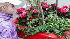 Girl Next to a Flower Bed of Flowers - stock footage