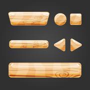 Set of wooden button for game design Stock Illustration