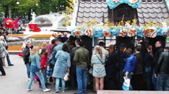 People go to the Weekend Fair - stock footage