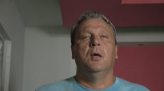Sweaty Man Having a Workout at Treadmill Stock Footage