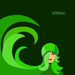 Spring girl - stock illustration
