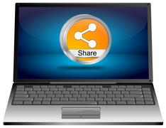 Laptop computer with Share it Button Stock Illustration