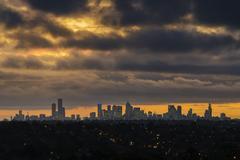 City skyline at sunset Stock Photos