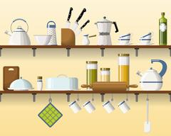 Kitchen shelving with tableware, seamless - stock illustration