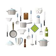 Set of cooking utensils - stock illustration
