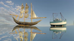 Two toy ships on a mirror, time lapse 4K Stock Footage