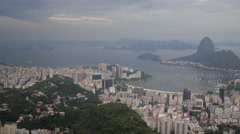 Aerial SugarLoaf Mountain Botafogo bay and neighbourhood Rio de Janeiro city Stock Footage