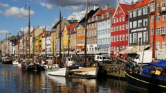 Time Lapse of Scenic Nyhavn District Day  - Copenhagen Denmark Stock Footage