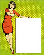 Woman stays next to blank white board. Pop art comics retro style vector - stock illustration