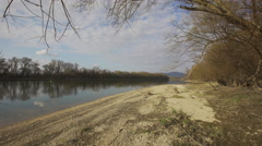 Danube riverbank in Hungary close to the capital Stock Footage