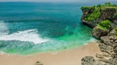 Ocean laguna beach with rock and sand Stock Footage