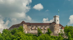 Ljubljana castle (Ljubljanski grad) with clock tower. Stock Footage