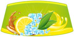 splashes of juice and ice cubes - stock illustration
