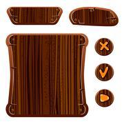 Wooden game assets Stock Illustration
