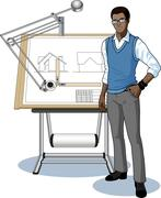 Young African architect student presenting his blueprint Stock Illustration