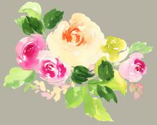 Flowers watercolor illustration - stock illustration