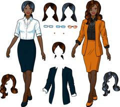 African Businesswoman in elegant formal wear - stock illustration