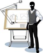 Silhouette architect presenting his blueprint - stock illustration