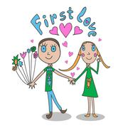 The illustrations in children's style. First love. - stock illustration