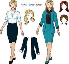 Caucasian Businesswoman in elegant formal wear - stock illustration
