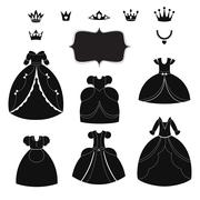 Princess dress silhouettes set. Cartoon black and white wearable items Stock Illustration