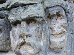 Bizarre Stone Heads - Rock Sculptures Stock Photos
