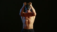 Young Men Lifting Kettle Bell Stock Footage