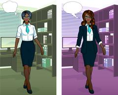 African Businesswoman in office interior Stock Illustration